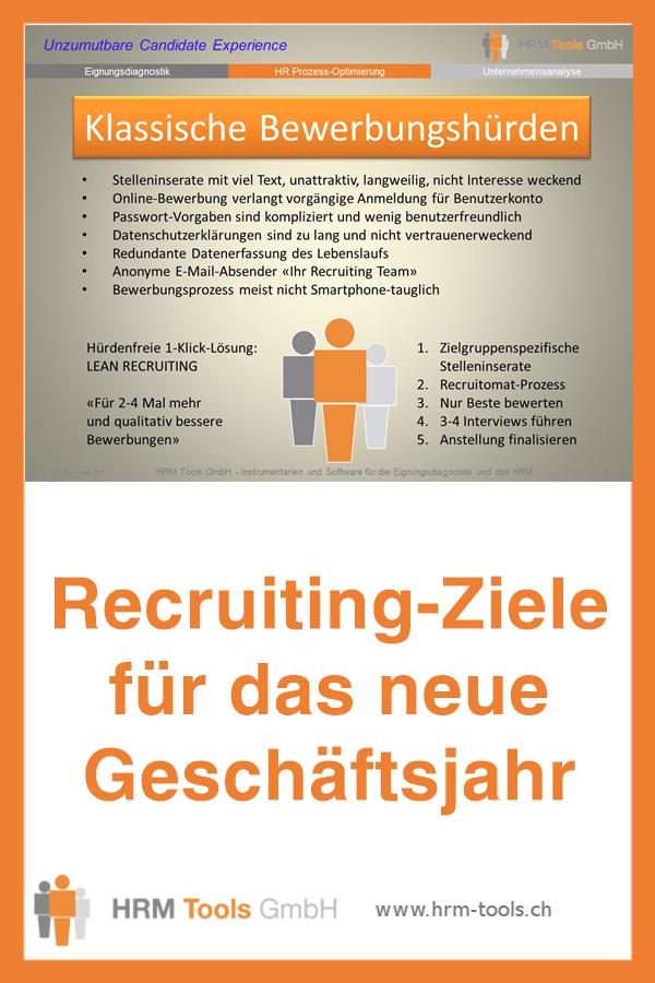 Recruiting-Ziele für das neue Geschäftsjahr - wehret den Bewerbungshürden