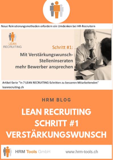 Lean Recruiting Schritt #1 - Verstärkungswunsch Stelleninserate für mehr Bewerber